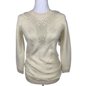 Guess Cream Sweater With Rheinstone Detail Size 10